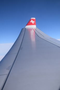 Onboard a Swiss Air flight from Montreal to Zurich.