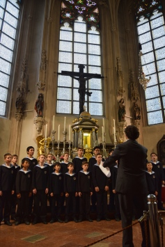 The Vienna Boys' Choir performs during a mass at the Hofburgkapelle