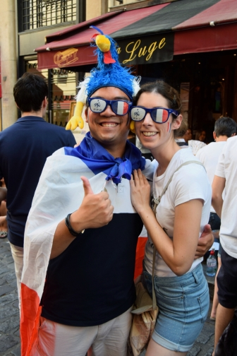 A couple celebrate France's victory in the 2018 World Cup