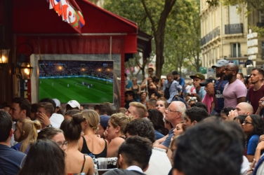 Watching the World Cup at a cafe in the Latin Quarter