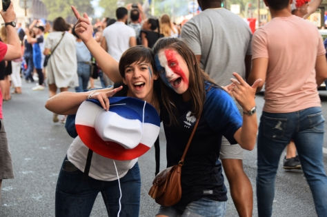 Celebrating France's victory in the 2018 World Cup