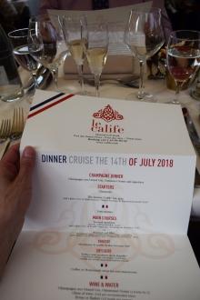 Dinner menu onboard Le Calife