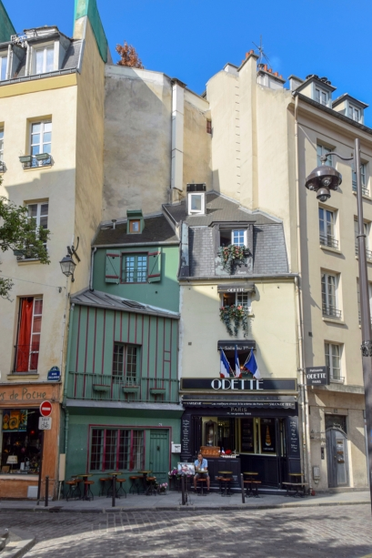 Charming medieval buildings at the corner of rue Galande